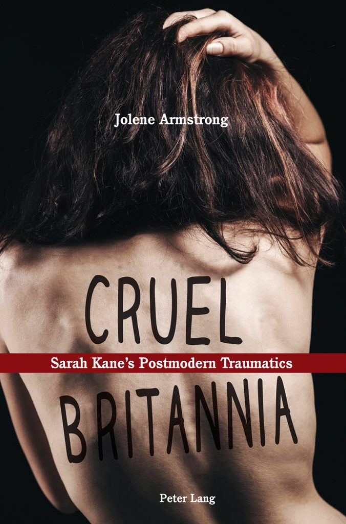 "woman's bare back with the words ""Cruel Britannia"" written on"